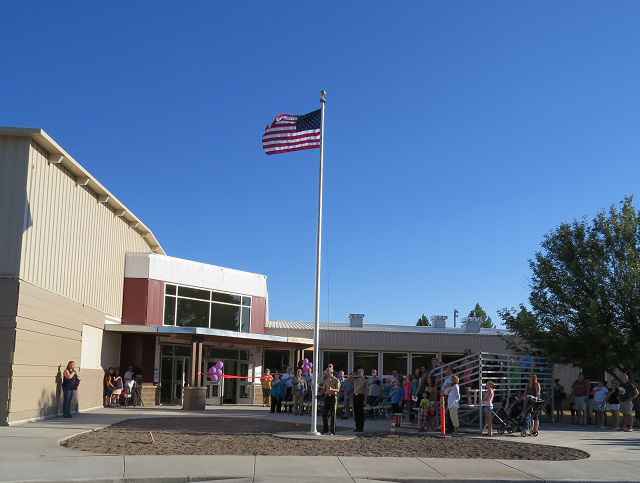 Flag pole in front of Crooked River Elem
